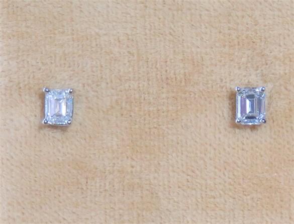 Emerald Cut Diamond Studs
