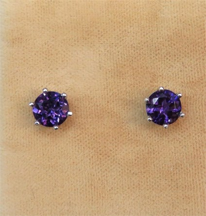 Deep Amethyst Stud Earrings
