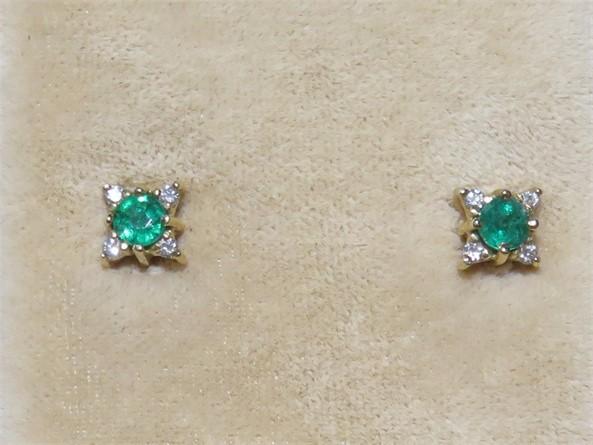 Emerald and Diamond Stud Earrings