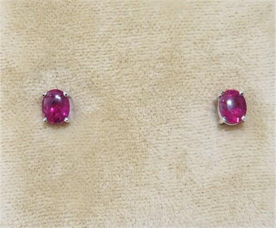 Ruby Cabochon Stud Earrings