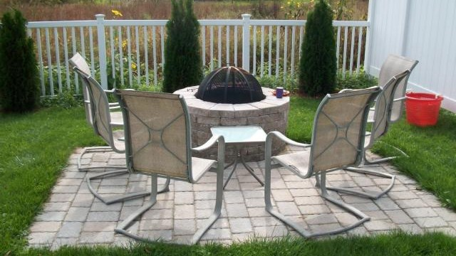 Stonework Fire Pit And Patio