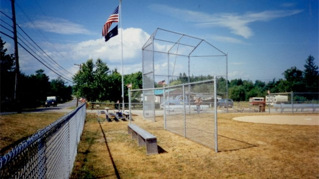 Chain Link Baseball Field With Backstop