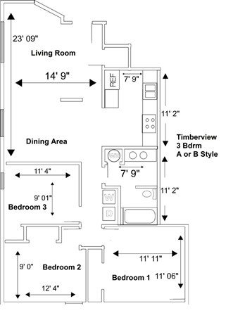 3 Bedroom A or B Style