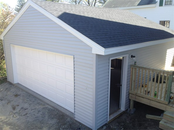 One Door Vinyl Sided Garage