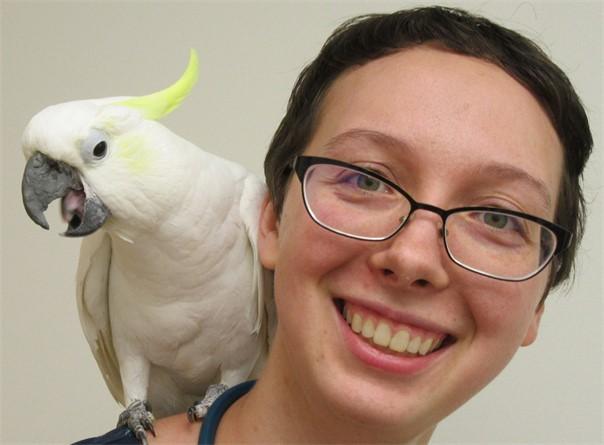 Olivia, Sulphur Crested Cockatoo, and Dr Amber Pierce, homo sapien