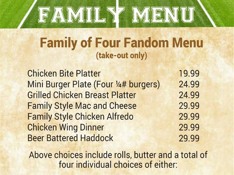Family of Four Fandom Menu - Call to Order 207-992-2250